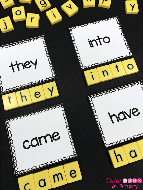 sight words cards and letter tiles spelling the words
