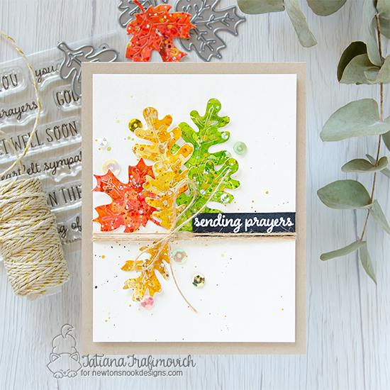 Sending Prayers Card by Tatiana Trafimovich | Autumn Leaves Die Set, and Heartfelt Essentials Stamp Set by Newton's Nook Designs #newtonsnook #handmade