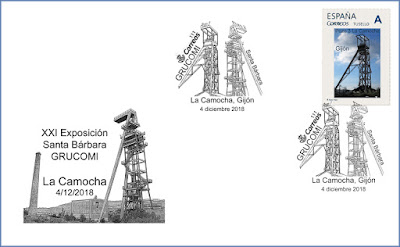 Filatelia, mina, matasellos, sobre, sello, La Camocha