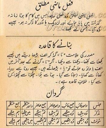Urdu grammar online: fail mazi mutlaq