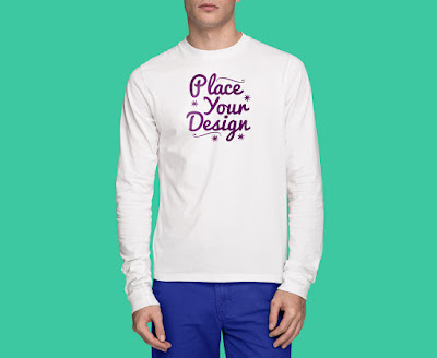 Free Front & Back White Long Sleeves T-Shirt Mockup PSD
