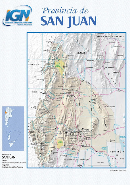 Mapa da província de San Juan - Argentina