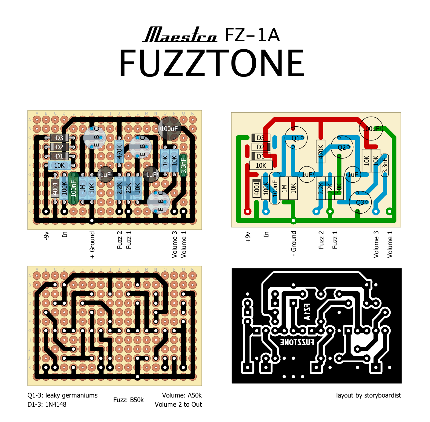 Perf and PCB Effects Layouts: Maestro FZ-1A Fuzz Tone Maestro Fuzz Tone Schematic on maestro fuzztrain pedal, tone bender schematic, maestro fz-1a schematic,