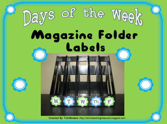 http://www.teacherspayteachers.com/Product/Days-of-the-Week-Magazine-Folder-Labels-Turquoise-and-Lime-Green-307033