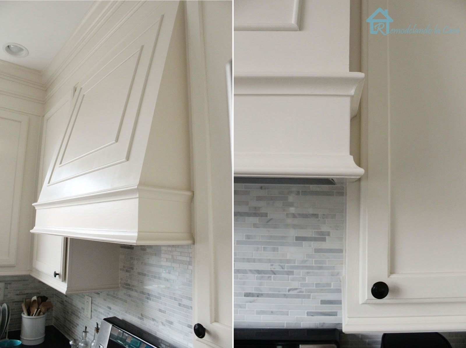 Builder's grade kitchen makeover with diy range hood