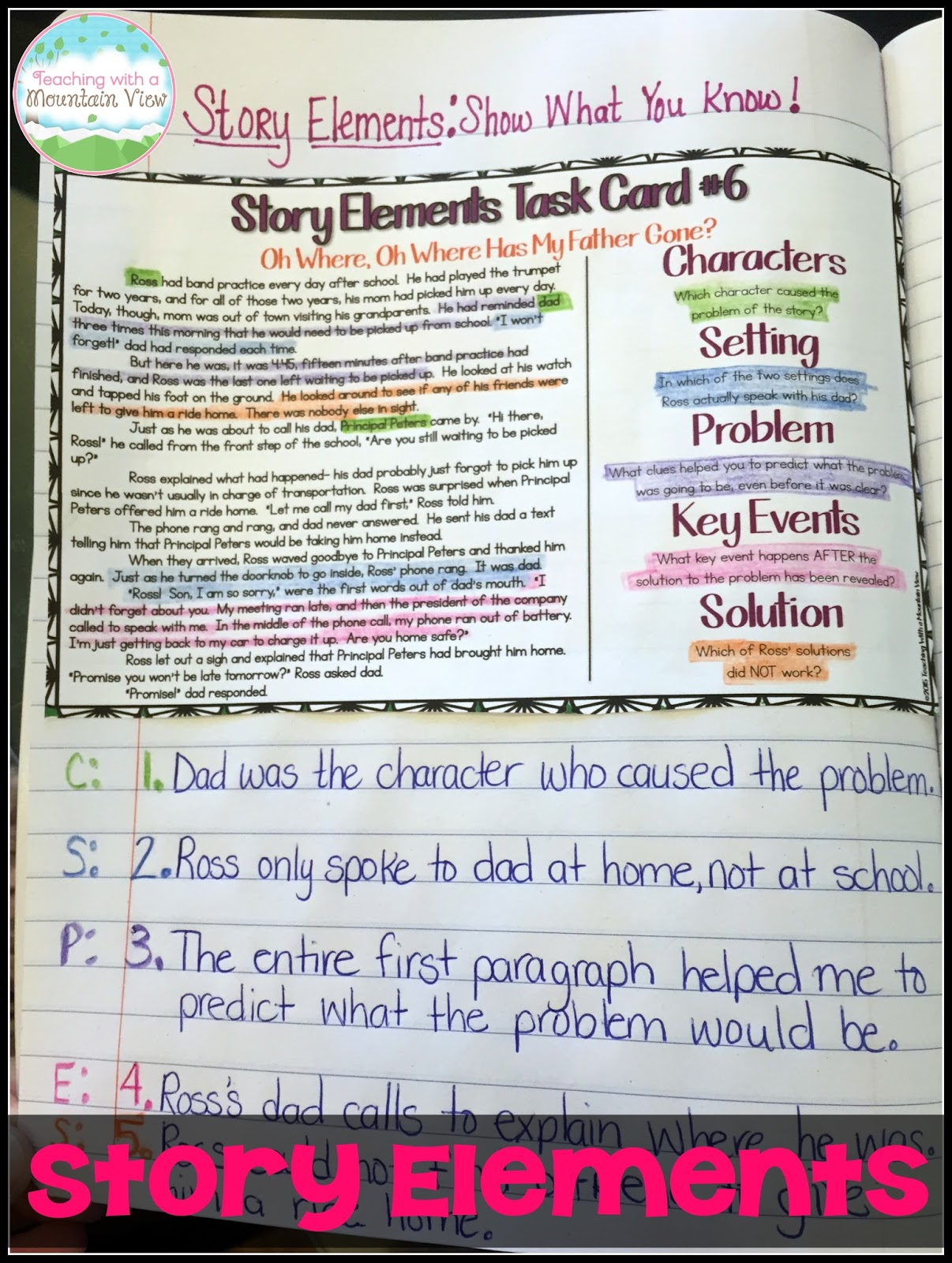 Five Elements Of A Story Worksheet