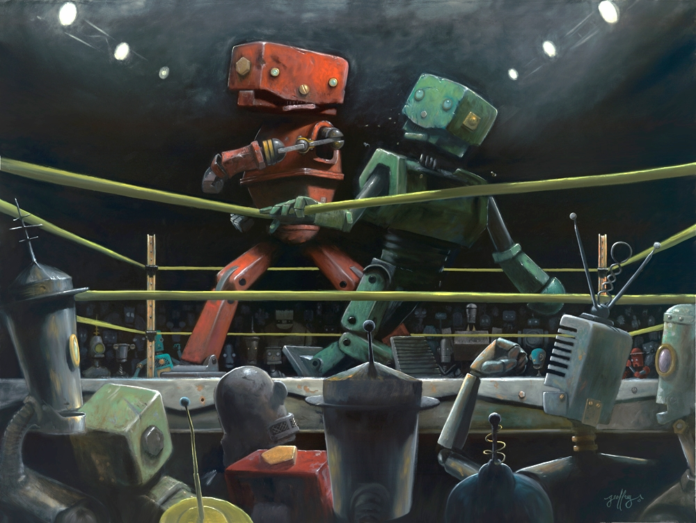01-Fight-Club-Geoffrey-Gersten-Surreal-and-Retro-Paintings-in-Modern-Times-www-designstack-co