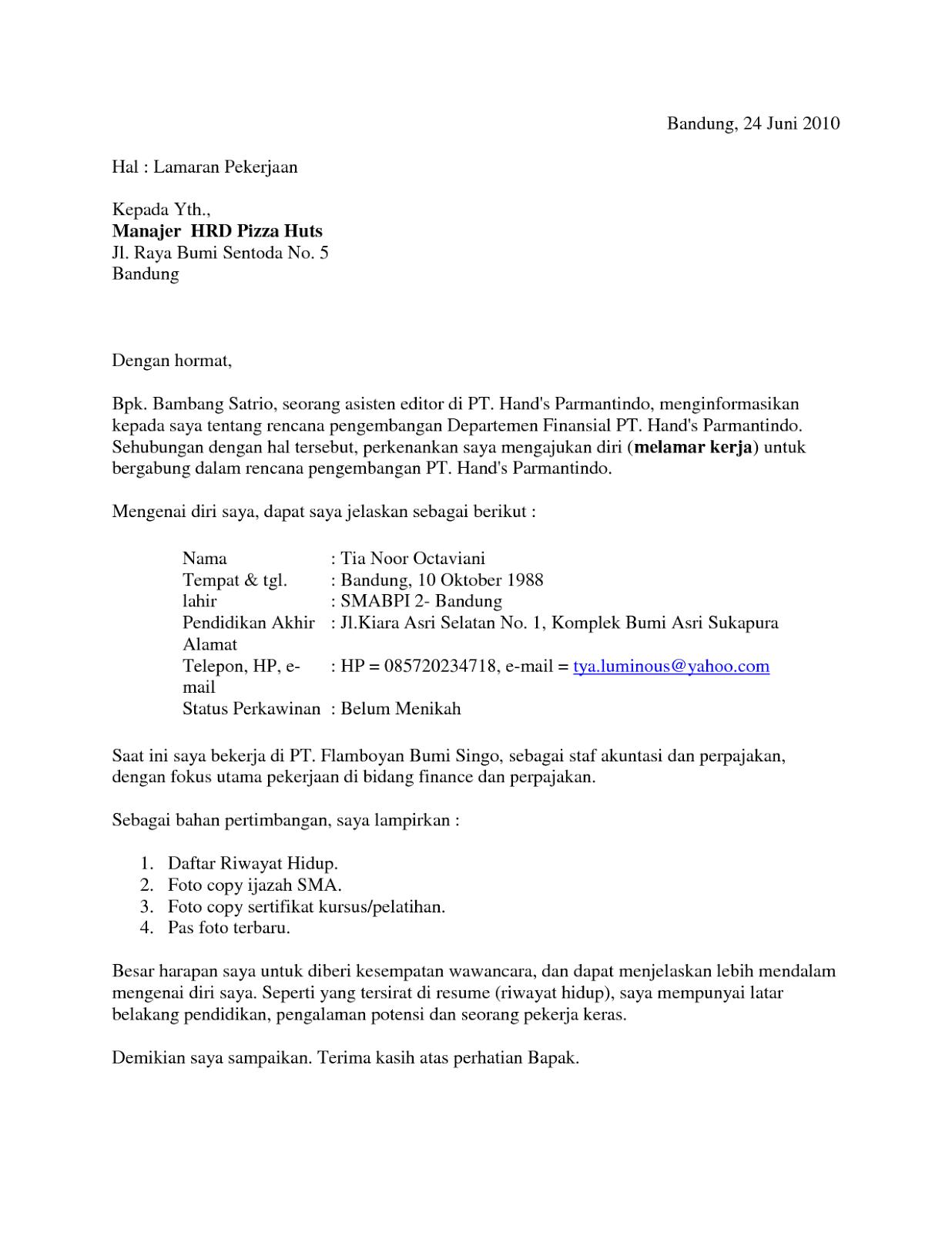 Download Surat Lamaran Kerja Dan Cv Word Www Tiaminritesisiled Tk