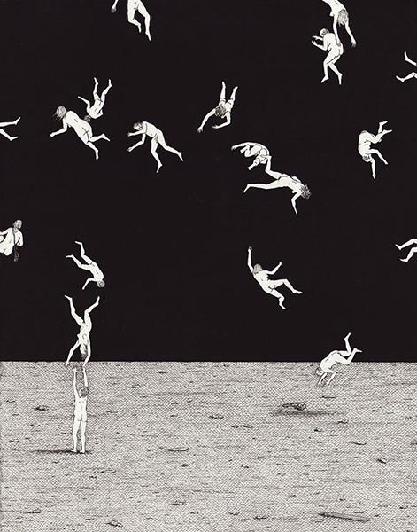 "Arte, dibujo contemporáneo, ink on paper drawing, ""Gravity"" por Ben Tolman, 2014."