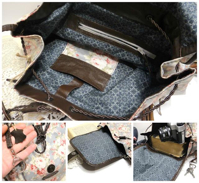 Женский городской рюкзак шебби шик: серо-голубой в винтажном стиле, подарок девушке, подарок женщине