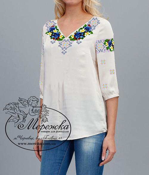 cbcf0564356cf9 Кольорова символьна схема для вишивання жіночої блузи. Арт. 12-38. Формат  А3. Розроблена в палітрі ДМС. Купити схему можна у інтернет-магазині