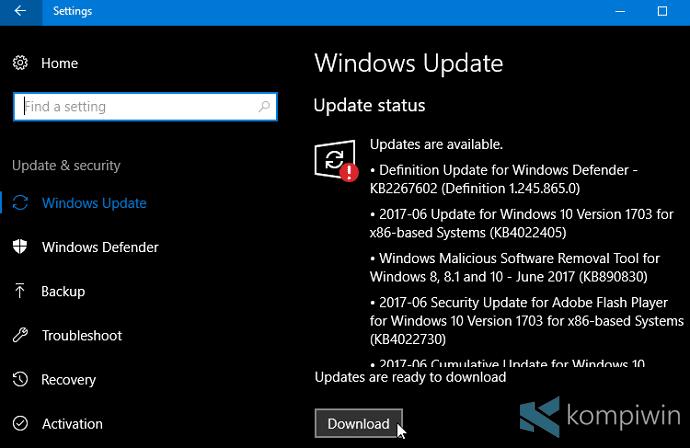 update & security windows update