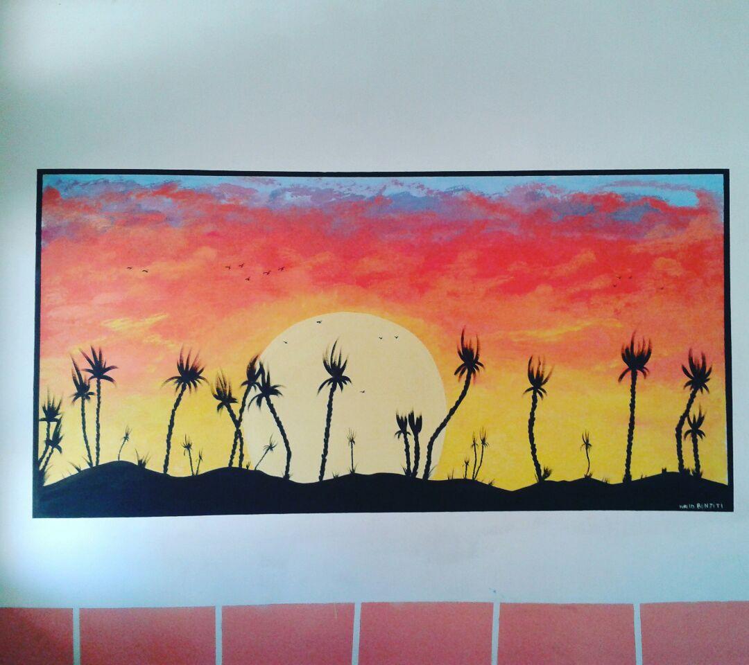 coucher de soleil dessin mural | Mes dessins