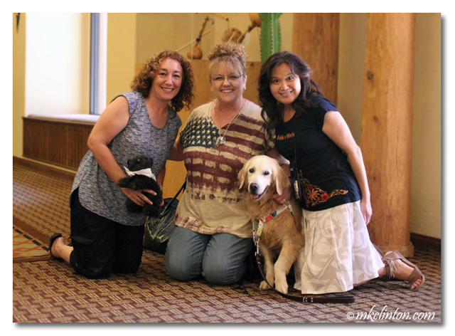 Gina and me with Rosalyn and Sugar the Golden Retriever