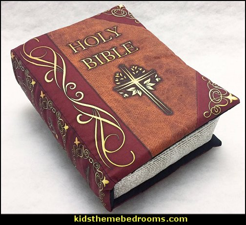 Holy Bible Pillow Book  Jesus for kids - Bible Stories wall murals - Christian Bible Verse wall decal stickers - Christian home decor - bible verse wall art -  inspirational bedding - Christian bedding - Christian kids toys - Lion and Lamb toddler beds -  bible stories for kids - Christening Baptism Gifts - Psalm bedding - Scripture throw pillows - bible verse throw pillows -  Vacation Bible School Decorations