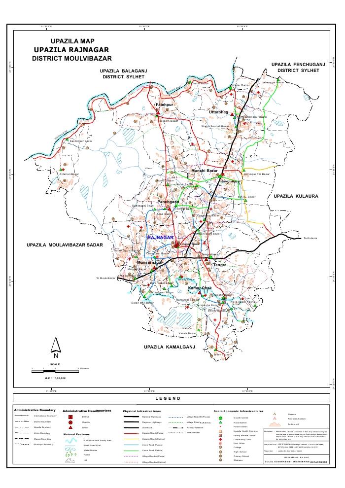 Rajnagar Upazila Map Moulvibazar District Bangladesh