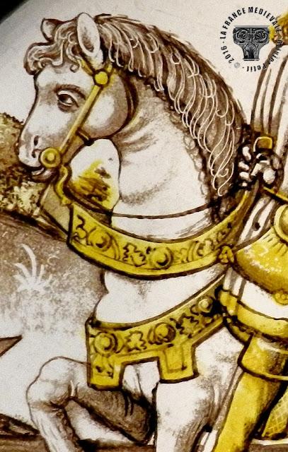 DIJON (21) - Musée des Beaux Arts : Vitrail - Fauconnier XVe siècle