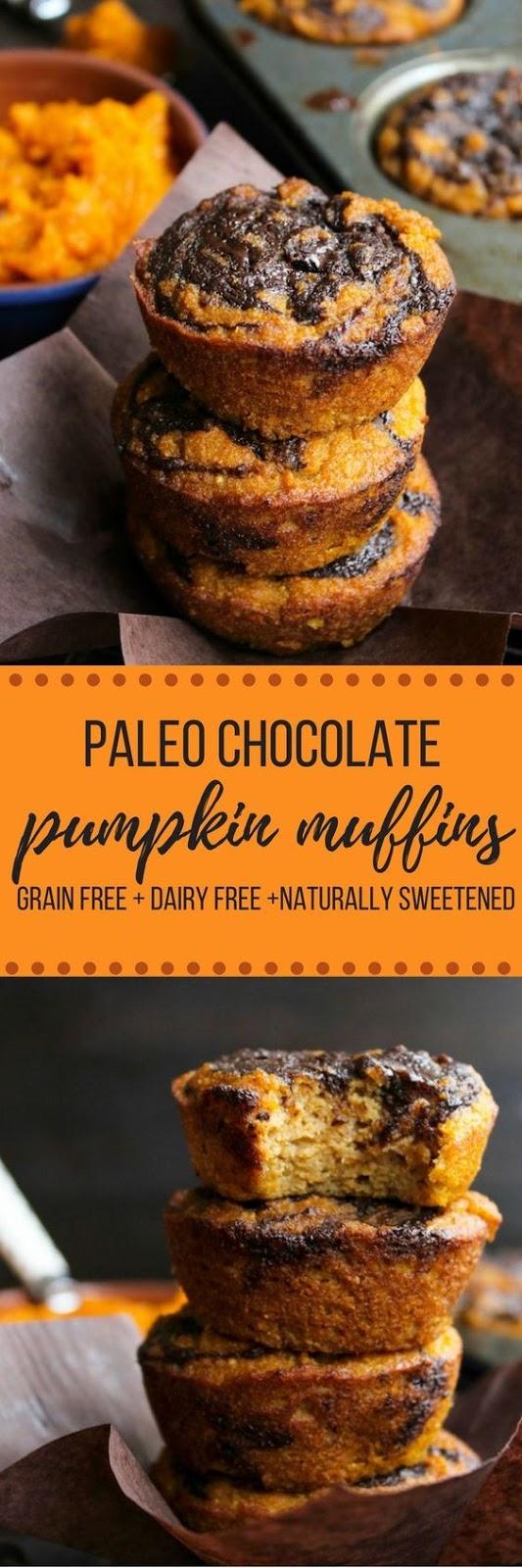 PALEO PUMPKIN MUFFINS WITH A CHOCOLATE SWIRL