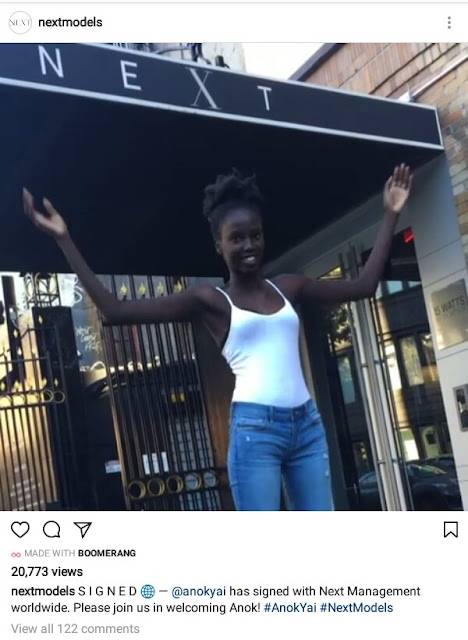 Remember the Sudanese beauty with gorgeous dark skin? She just signed a major modeling contract after her photos went viral