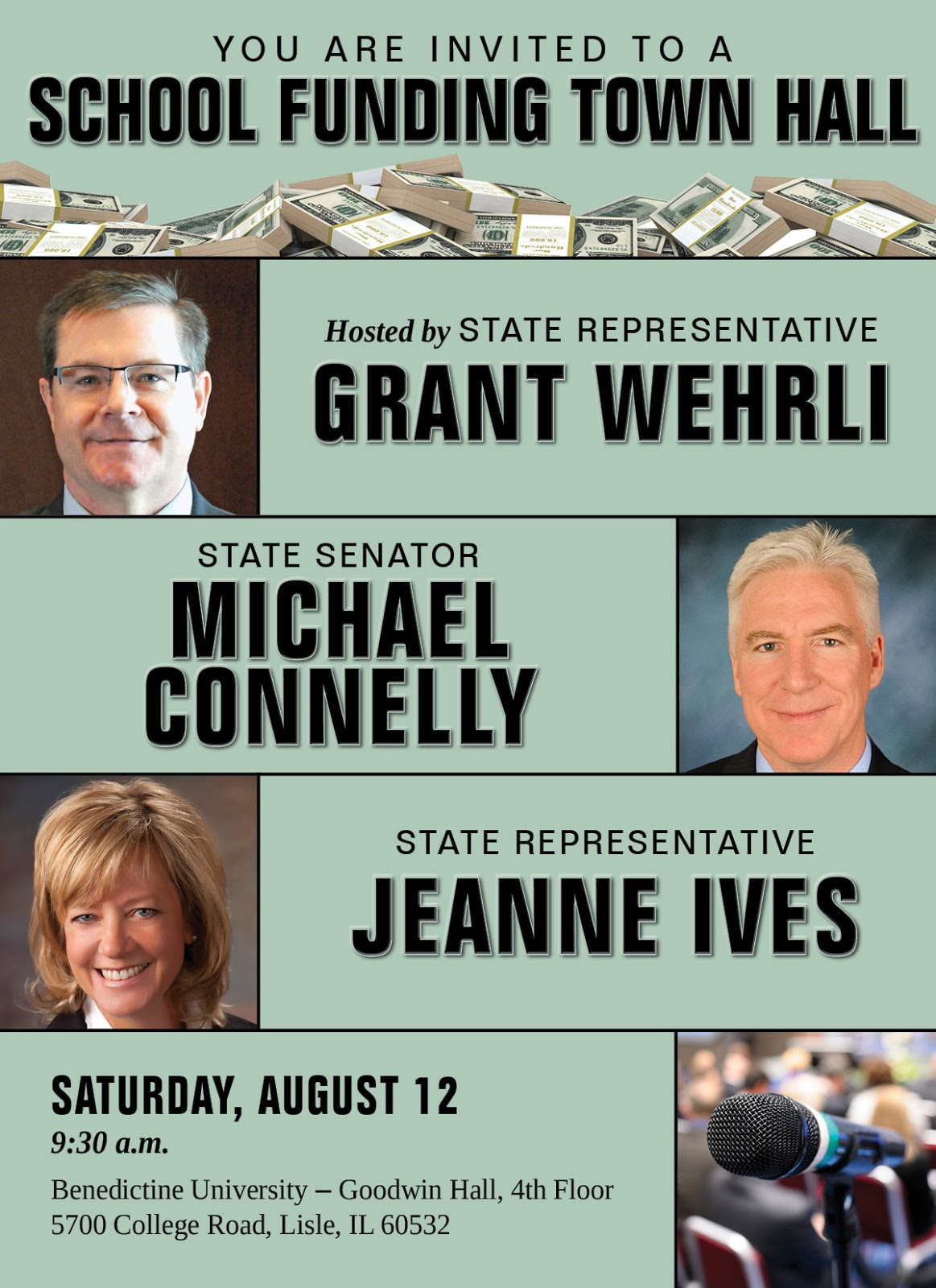 wehrli r naperville and jeanne ives r wheaton along with state senator michael connelly r naperville will host a town hall meeting on the status