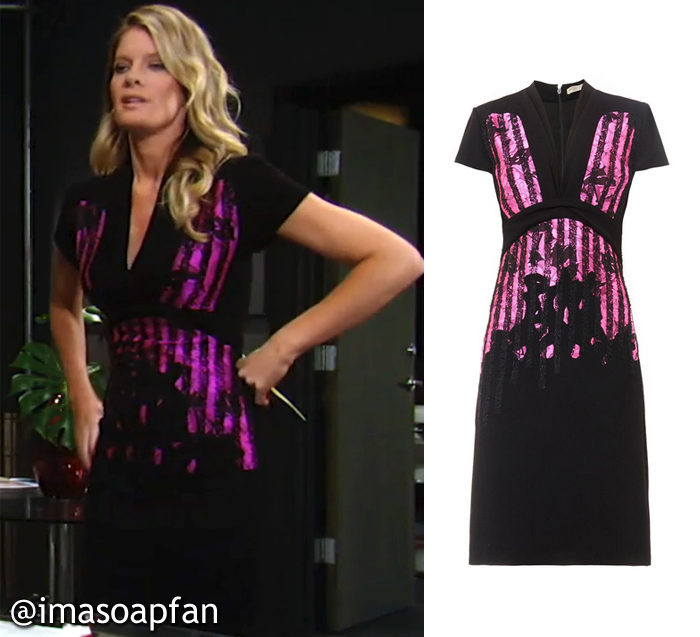 General Hospital, GH, Michelle Stafford, Nina Reeves, Black and Pink Dress