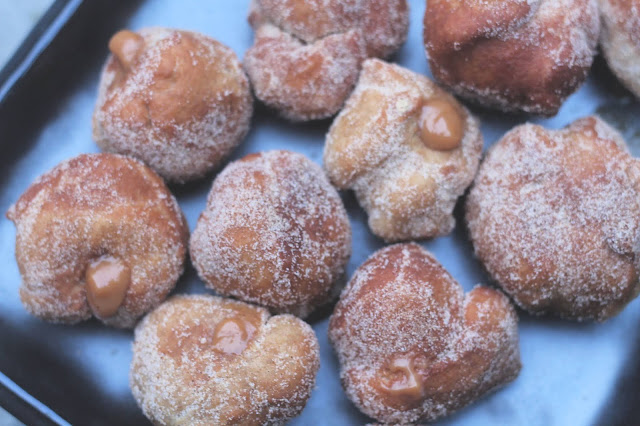 Christmas Spiced Caramel Filled Doughnut Holes