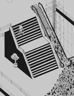 orang yang malas menggunakan tangga dan lebih memilih eskalator