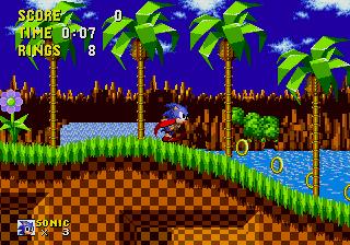 Imagen con una captura de pantalla de Sonic the Hedgehog, 1991, en la que aparece Sonic corriendo y recogiendo anillos