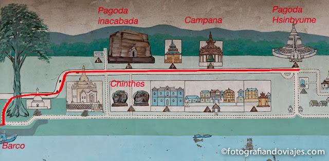 mapa turistico de Mingún