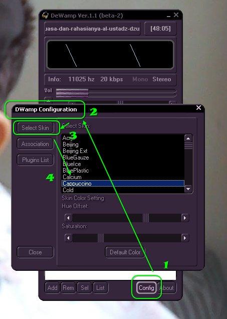 Dewamp aplikasi pemutar mp3 GRATIS alternatif Winamp-Konfigurasi-Skin