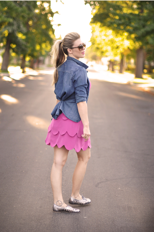 pink scalloped edged dress with denim shirt