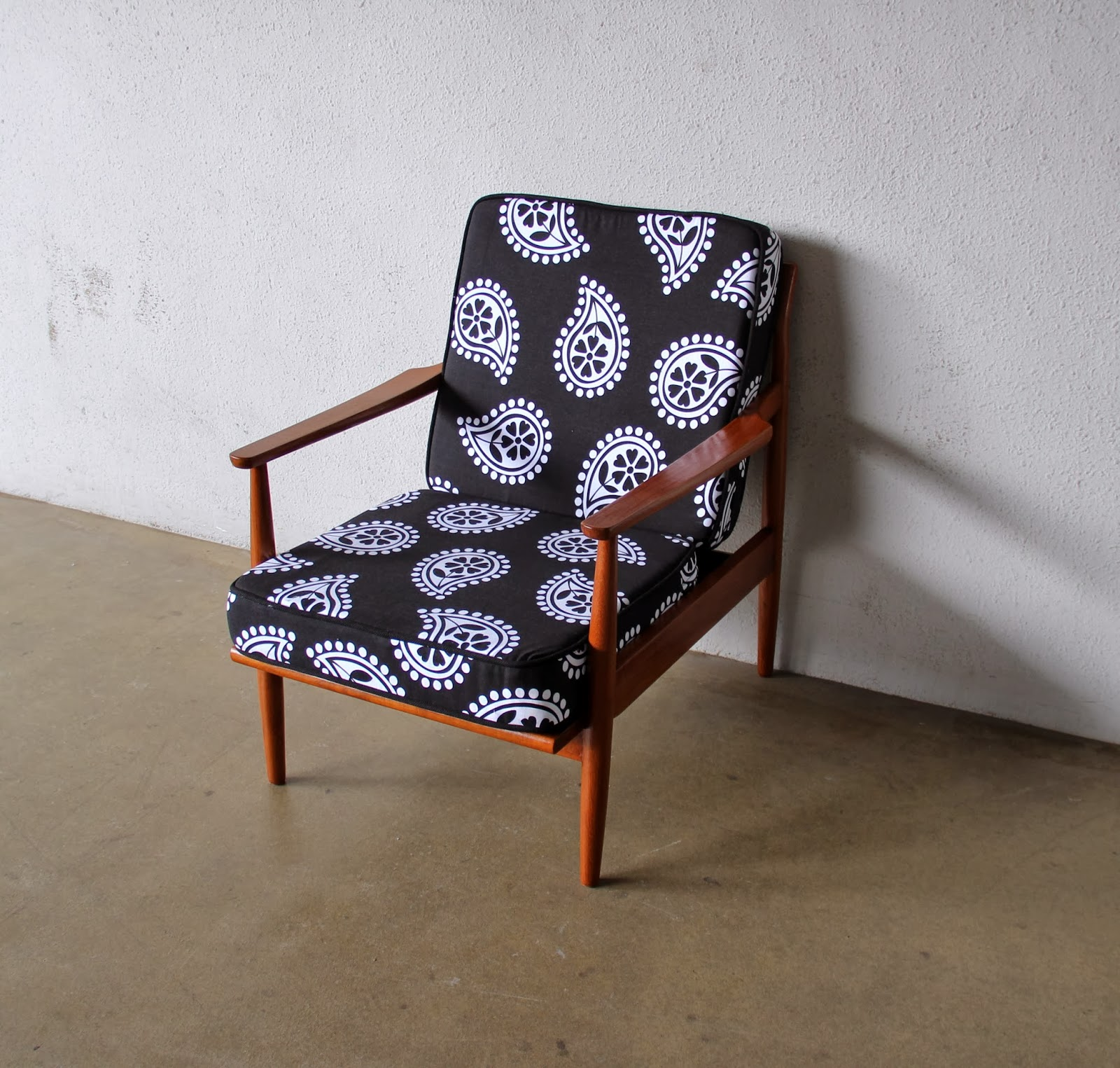 black and white paisley chair colorful wooden kitchen chairs second charm furniture purely vintage sofas
