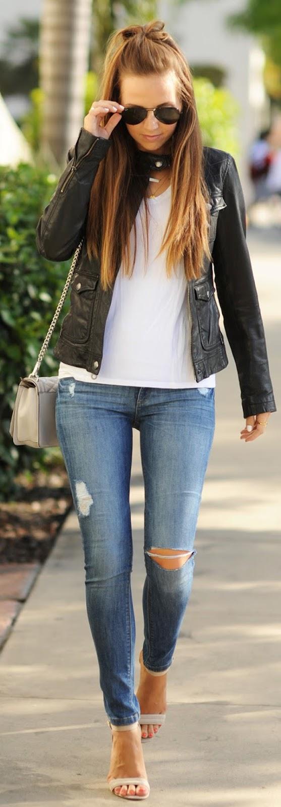 skinny jeans + top