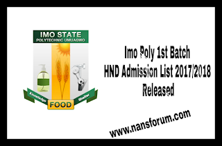 Image for Imo Poly 1st Batch HND Admission List 2017/2018 Released