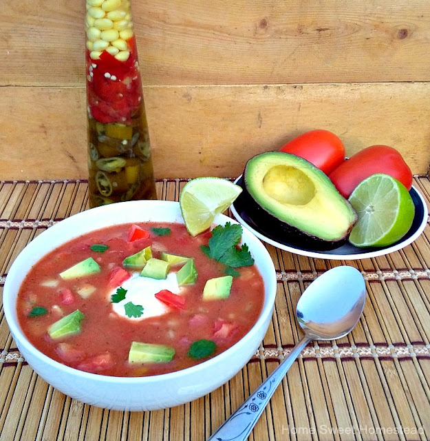 Salsa Gazpacho Soup - Home Sweet Homestead