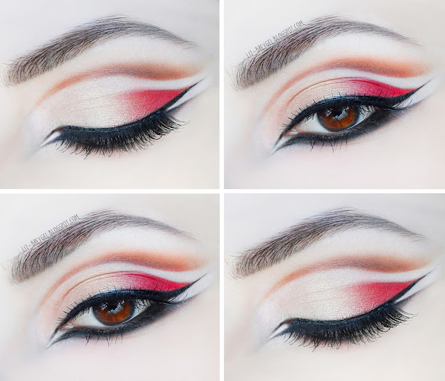 liz breygel graphic eyeliner double cut crease double eyeliner step by step tutorials pictures makeup look bright red gothic makeup