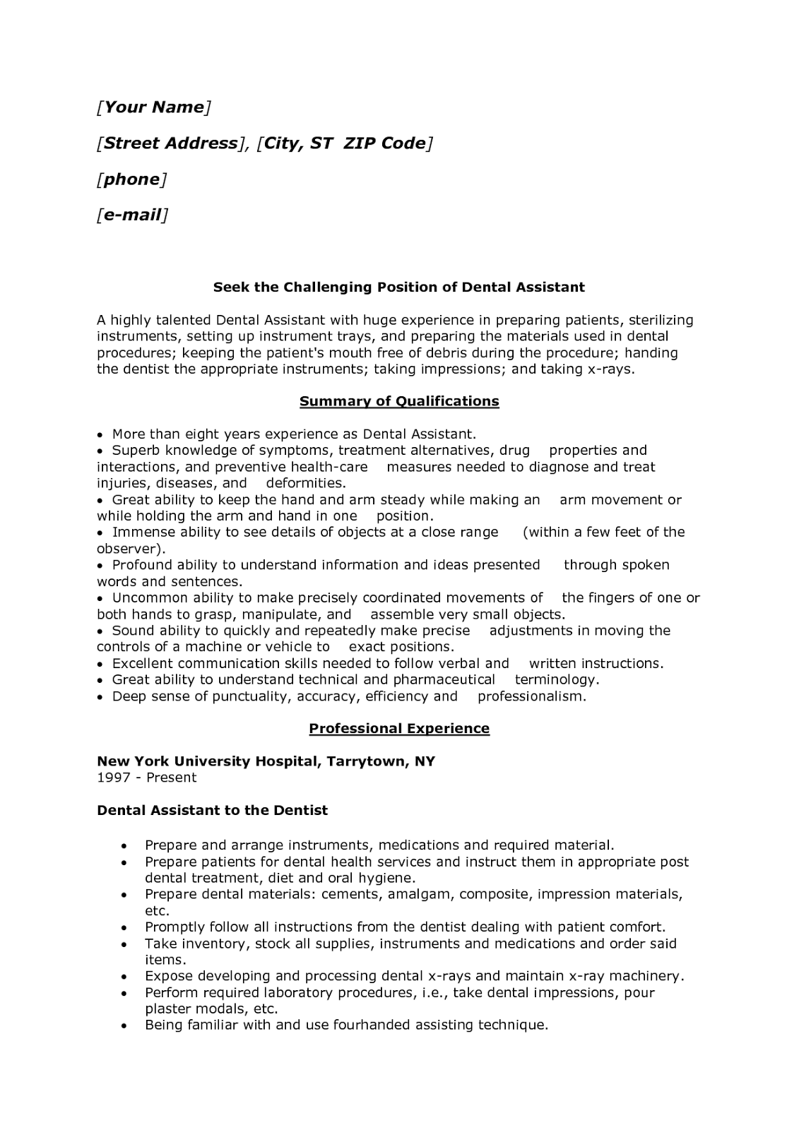 Sample Of A Dental Assistant Resume Entry Level 42