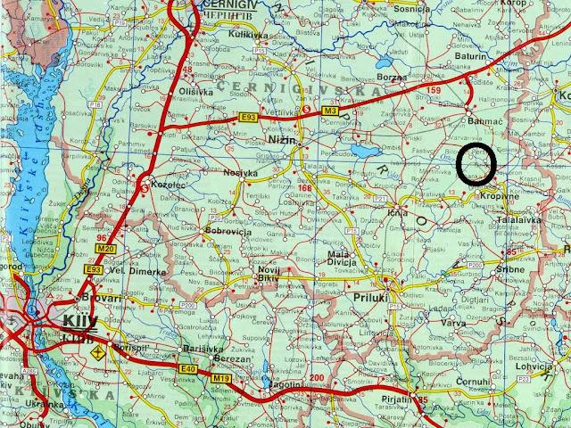 Mapa rodoviário da região de Kiev
