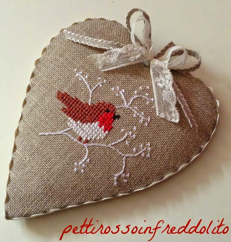 serce plocienne haftowane