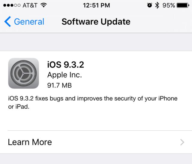 iOs 9.3.2 update iPSW firmware