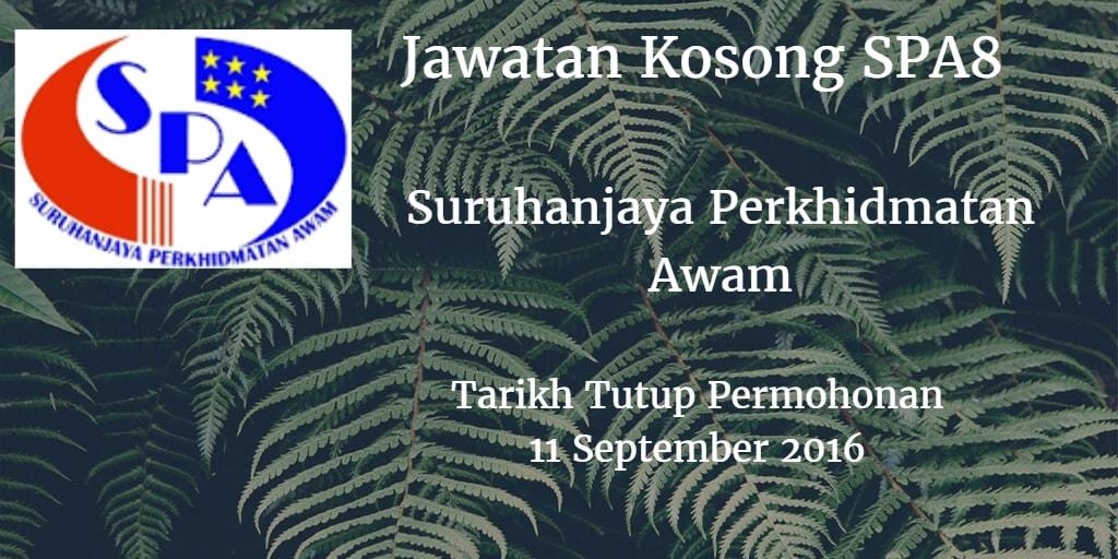 Jawatan Kosong SPA8 11 September 2016
