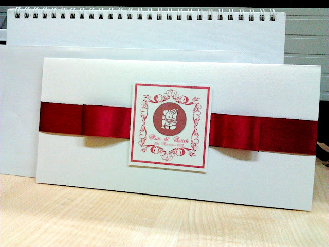 wedding card, malaysia wedding card, printing, maroon ribbon, pearl white card, envelope, indian wedding card, Ideal Convention Centre Selayang