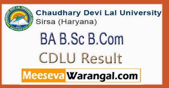 CDLU Chaudhary Devi Lal University BA B.Sc B.Com 1st 2nd 3rd Year Result 2018