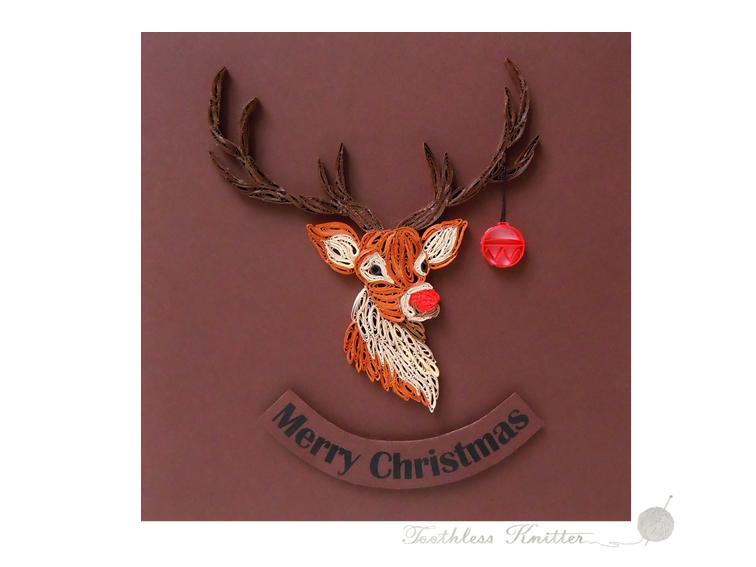 Quilled Christmas Card with Rudolph / Quillingowa Kartka Bożonarodzeniowa z Rudolfem