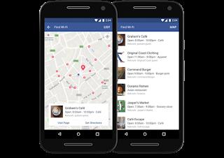 """تحديث الفيس بوك الجديد """" أيجاد شبكات الواي فاي المجانية """"   Find Wi-Fi' feature  """