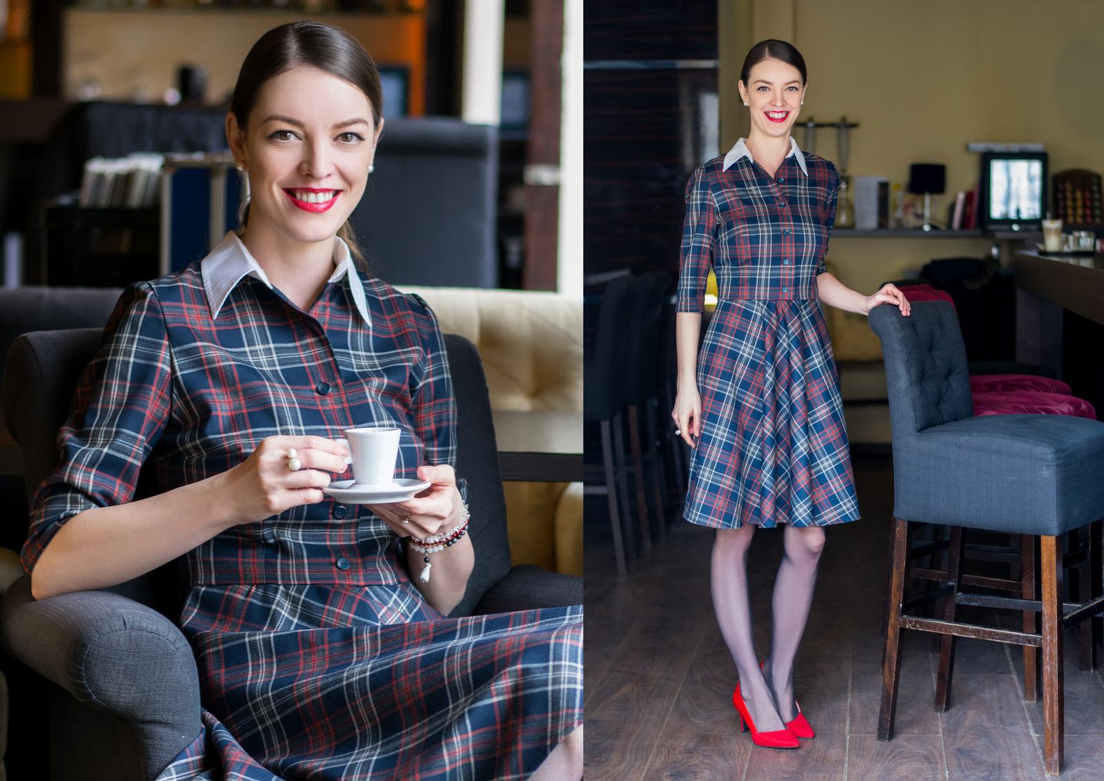 tartanové šaty s červenými lodičkami // handmade tartan dress
