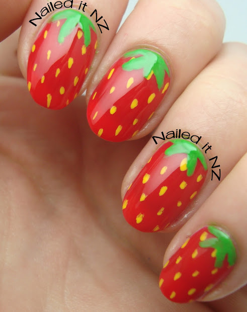 Two Day 30 Food Theme Strawberry Nails Tutorial