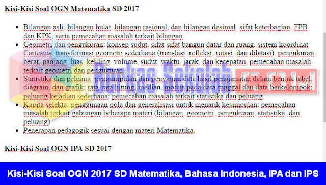 Kisi-Kisi Soal OGN 2017 Tingkat SD