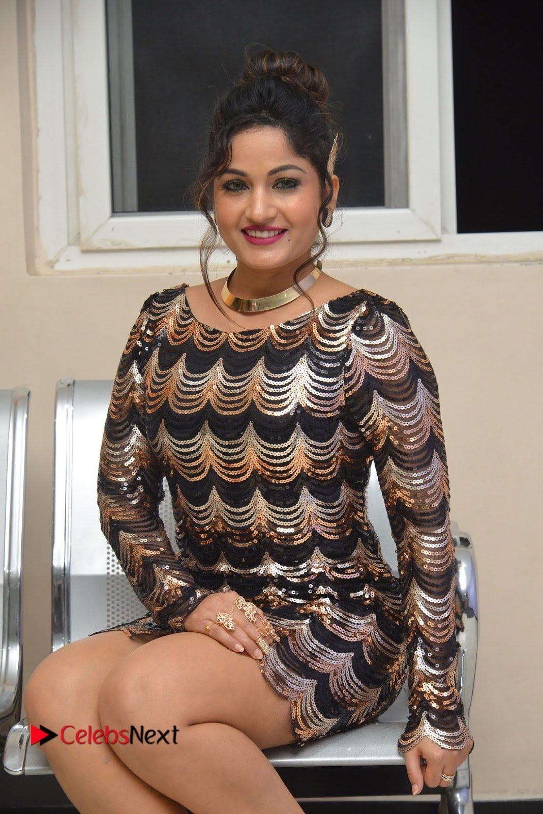 Actress Madhavi Latha  Pictures in Short Dress at On Mona Birthday Premiere  0046.JPG