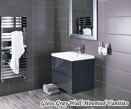Gloss Gray Wall Mounted Vanities For Small Bathrooms